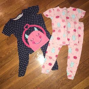 3T Carter's Toddler Girl Monster PJ Set